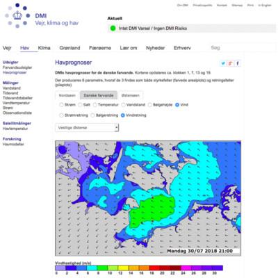 Auf der dänischen Webseite landet ihr direkt auf einer Karte. Hier einfach am rechten Rand auf 'Vind' klicken.